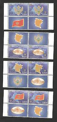 Montenegro-Mnh** Two Sets+Labels-Flag-Coat Of Arms-Map-Type I-2005.