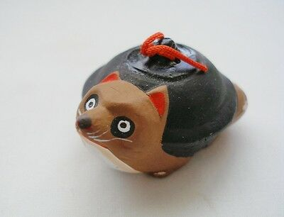 Special NEW in Box TANUKI Teapot CLAY BELL Japanese FOLK TOY Raccoon Dog NOS HP
