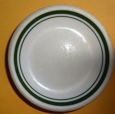 Vintage Butter Pat Restaurant Style White W Green Trim