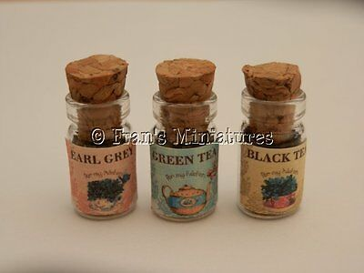 Dolls house food: Pantry jars of assorted teas   -By Fran