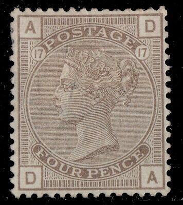 1880 Victoria 4 P Gray Brown Plate 17 Wmk. 30 Mint Hinged 60%gum Well Centered