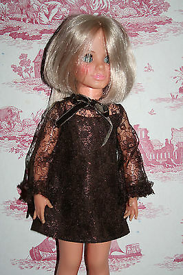 Fab Brown Lace Dress For Ideal Crissy Sized Dolls