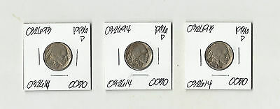 Three 1936 D Buffalo Nickels - # 032695, 94, 93