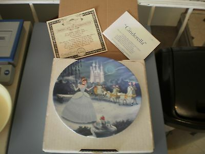 disney's cinderella collectoe plate box and papers