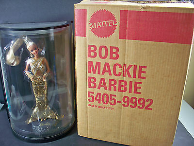 Nib Barbie Doll 1990 Bob Mackie Gold W/shipper Signed Case