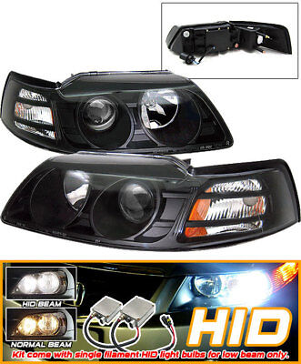 Fits Xenon HID 99-04 Ford Mustang Black Projector Headlights