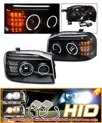 Fits For HID 01-04 Nissan Frontier Black CCFL Halo Projector Headlights