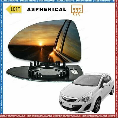 Left side Wide Angle wing mirror glass for Vauxhall Corsa D 06-2014 Heated
