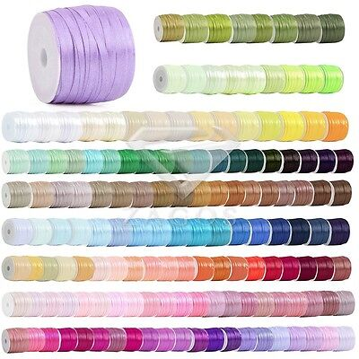 "50 Yards Fancy Satin Ribbon Wedding Birthday Party Craft Supplies 1/8"" 3mm"