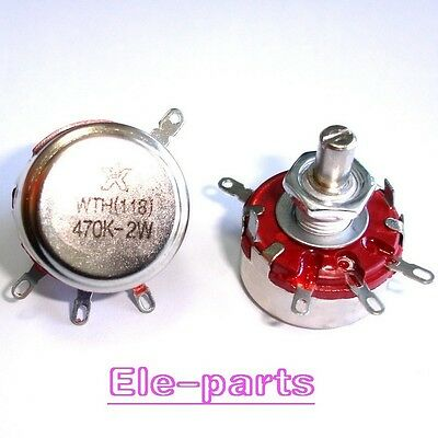 2 PCS WTH118-1A 2W 470K ohm Rotary Taper Potentiometer Round Shaft Linear