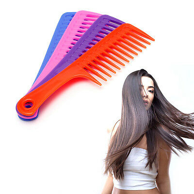 Hairdressing Salon Hair Comb Wide Tooth Handle Anti-static Plastic Detangling