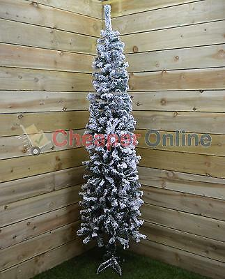 2.2m (7.5ft) Snow Flocked Spruce Pine Slim Christmas Tree in Green