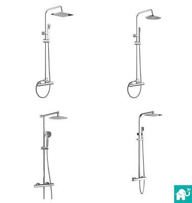 Twin Head Exposed Chrome Bath Thermostatic Mixer Valve Shower Tap