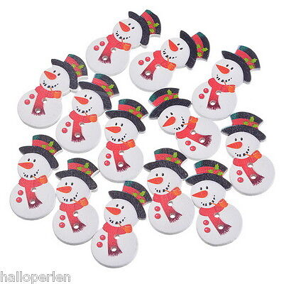 50PCs Two Holes Scrapbooking Snowman Wood Button Crafts Christmas Decoration