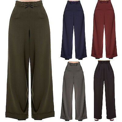 Womens 1940s Style Retro Vintage Swing Trousers Wide Leg High Waist Slacks UK
