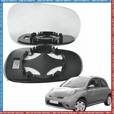 Right Driver side wing door mirror glass for Nissan Micra 2003-2009