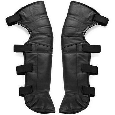 Unisex Motorcycle Rider Leather Half Chaps Legging Leg Cover Warmer Gaiter