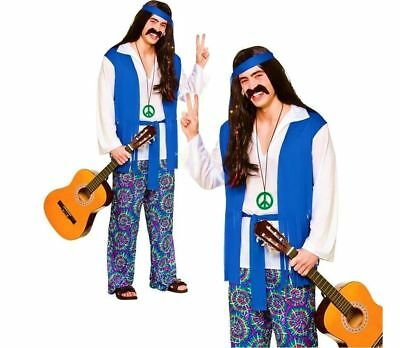 Groovy Hippie Costume Mens 1960s Hippy Fancy Dress Outfit S-XL