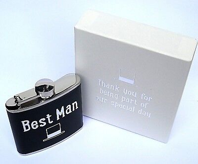 """Best Man"" WEDDING GIFT HIP FLASK - 5oz MATT BLACK LEATHER STYLE - in a GIFT BOX"