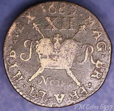 1689 November James II Irish Ireland Shilling Large Gunmoney coin [6937]