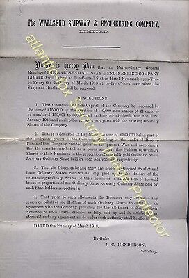 1918 Original WALLSEND SLIPWAY & ENGINEERING CO LTD  Share Prospectus notice