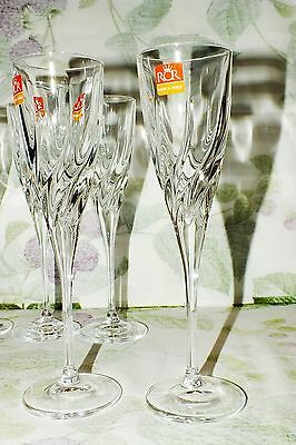 ROYAL CRYSTAL ROCK RCR Italy TRIX CHAMPAGNE FLUTE (6) AVAILABLE  NEW from BOX