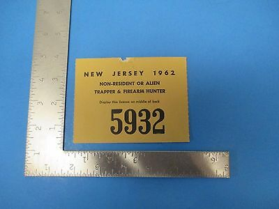 Vintage 1962 New Jersey Non-Resident Trapping & Firearm Hunting License, S1719