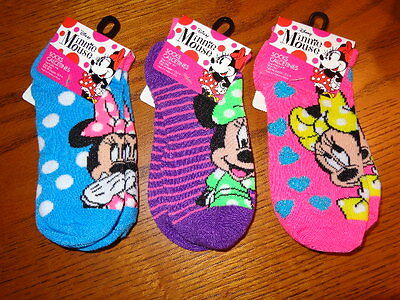 Minnie Mouse Disney Licensed Girls Socks 3 Pair Size 6-8 Ankle Style Kids Girls