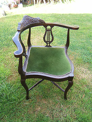 Corner vintage/antique chair Green upholstered harp side design great condition