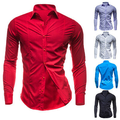 US Size Mens Luxury Shirt Stylish Slim Fit Long Sleeve Fashion Dress Shirts Tops