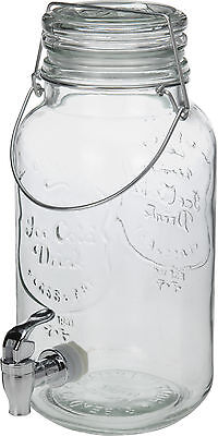 4Ltr Glass Drink Beverage Water Juice Serving Pitcher Dispenser Jar with Tap