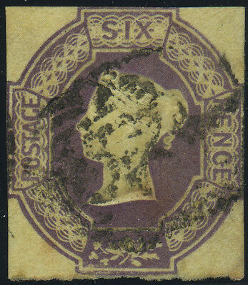 SG 59 Embossed 6d dull lilac, good used cut-square lightly cancelled example, Ca