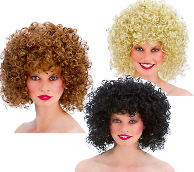 1980s Disco Perm Ladies Wig 80s Fancy Dress Accessory 3 Colours