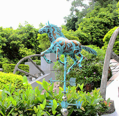 LARGE Copper HORSE Weathervane with FREE ROOF MOUNT Handcrafted Patina Finish