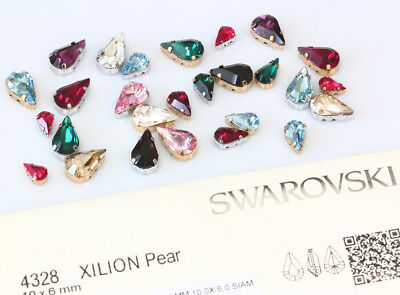Genuine SWAROVSKI 4328 Pear Crystals with Sew On Metal Settings * Many Colors
