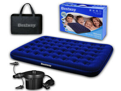 Bestway Double Flocked Inflatable Air Bed With Pump & Carry Bag Airbed Mattress