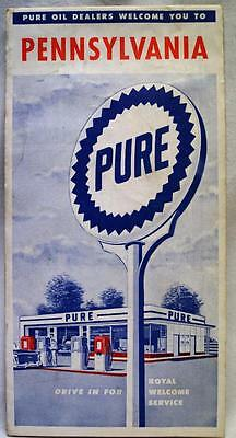 Pure Oil Service Station Pennsylvania Highway Road Map 1956 Vintage Travel