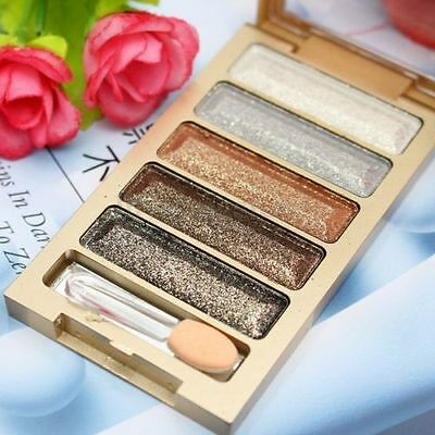 5 Color Natural Smoky Eyeshadow Glitter Shimmer Palette Warm Eye Shadow Makeup