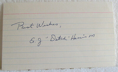 Dutch Harrison Ball Point Pen Autograph On Lined Index Card