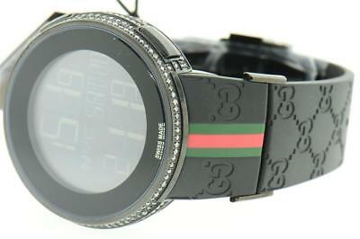 b4c2bb58e0d New Mens Custom Black Full i Gucci Digital YA114207 White Diamond Watch 2 CT .