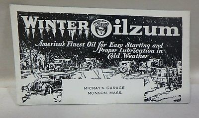 VINTAGE 1930's WINTER OILZUM MOTOR OILS & LUBRICANTS ADVERTISING INK BLOTTER