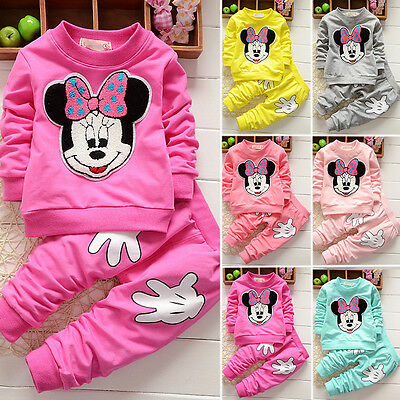 2Pcs Baby Girls Minnie Mouse Cratoon Hoodie Jumper Tops Pants Boys Outfits Set