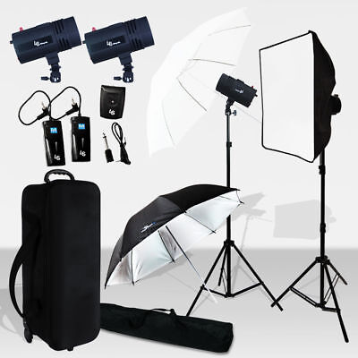 "NEW_Photo Studio 2 X 400W Strobe Light Flash  86"" Stand Lighting Kit Photography"