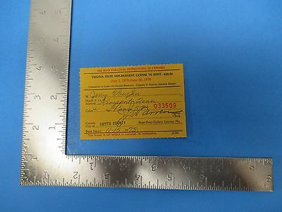 Vintage 1975 Virginia Non-Resident License to Hunt, Jerry Vaughn, S1775