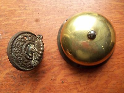 Antique Victorian Brass Mechanical Doorbell & Fancy Round Brass Twist P1883 R&E
