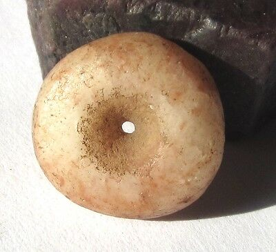 RARE AMAZING ANCIENT AGATE MALI DISK BEAD 7mm x 16mm