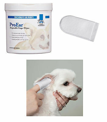 DOG PET Groomer Grooming Anti-bacterial/fungal EAR CLEANING 50pc FINGER WIPE Pad