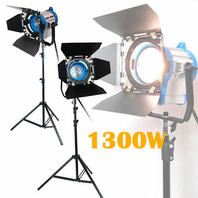 1300W Pro Film Lighting Fresnel Tungsten Spot Video Light Barndoor Stand Kit NEW