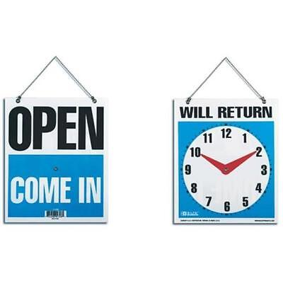 Will Return Clock Sign with Open Sign on Back - Set of 2 - 18.5cm x 22.5cm