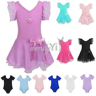 Toddler Girl Gymnastics Leotard Ballet Dress Party Tutu Skirt Dance wear Costume